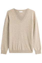 Closed Pullover With Wool And Cashmere Beige
