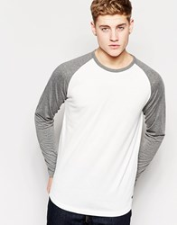 Jack And Jones Jack And Jones Contrast Raglan Long Sleeve Top White Whitenavy