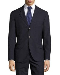 Brunello Cucinelli Striped Wool Two Piece Suit Blue Navy