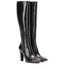 Saint Laurent Lily 95 Leather Knee High Boots Black