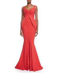 La Petite Robe Di Chiara Boni Dixie Sleeveless V Neck Peplum Mermaid Gown Passion Red