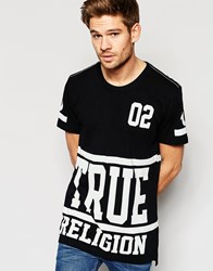 True Religion Oversized All Over Logo Print T Shirt Black