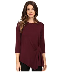 Vince Camuto 3 4 Sleeve Side Ruched Top Raisin Women's Clothing Brown
