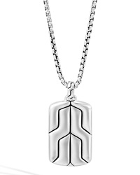 Silver Box Chain Dog Tag Necklace John Hardy