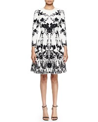 Alexander Mcqueen 3 4 Sleeve Floral Print Fit And Flare Dress Off White Black