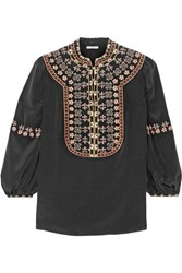 Vilshenko Lucy Embroidered Washed Silk Blouse Black
