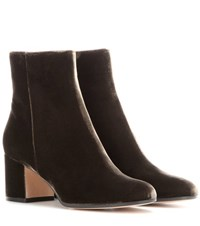 Gianvito Rossi Margaux Mid Velvet Ankle Boots Green