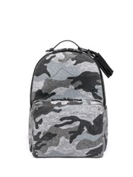 Valentino Camouflage Print Felt And Leather Backpack Grey Camo