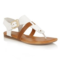 Lotus Arvon Toe Post Sandals White