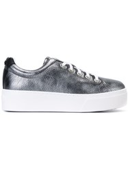 Kenzo Platform Lace Up Sneakers Metallic