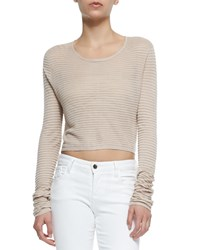 Alice Olivia Ribbed Knit Crop Top Tan