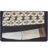 F.E.V. Wild Leather And Snakeskin Tablet Clutch Blue Suede