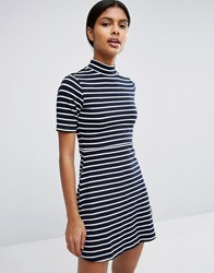 Love And Lies High Neck Skater Dress In Stripe Navy White Black