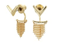 Sam Edelman V Fringe Front Back Earrings Gold Earring