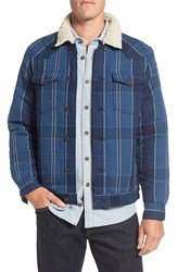 Surfside Supply Men's Faux Shearling Lined Plaid Shirt Jacket