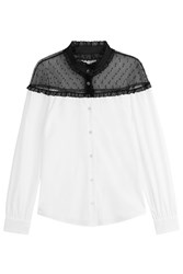 Red Valentino Cotton Blouse With Dotted Tulle Top White