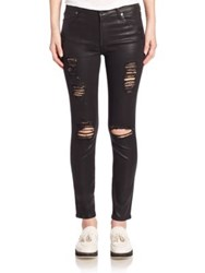 7 For All Mankind Distressed Coated Ankle Skinny Jeans Coated Distressed