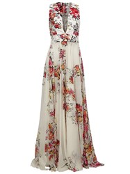 Zuhair Murad Floral Print Flared Gown White