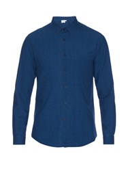 Sunspel Washed Cotton Shirt Blue