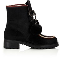 Barneys New York Women's Pom Pom Ankle Boots Black