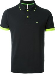 Sun 68 Small Collar And Sleeve Detail 'Righe Fluo' Polo Shirt Black