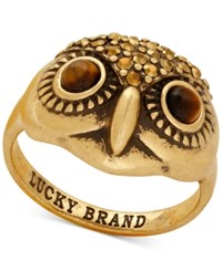 Lucky Brand Gold Tone Crystal Owl Head Ring