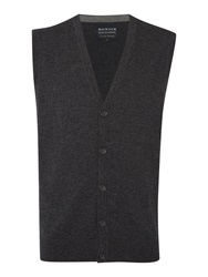 Howick Arlington Sleeveless 100 Lambswool Cardigan Charcoal