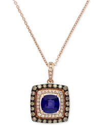 Effy Collection Velvet Bleu By Effy Manufactured Diffused Sapphire 1 1 8 Ct. T.W. And Diamond 1 3 Ct. T.W. Pendant Necklace In 14K Rose Gold Blue