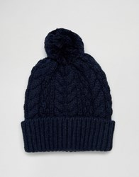 Asos Wool Mix Bobble Beanie In Navy Navy Blue
