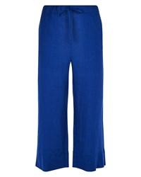 Jaeger Linen Cropped Trousers Blue