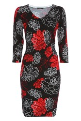 Roman Originals Floral Print Knitted Dress Red