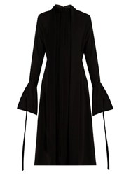 Ellery Inez Neck Tie Crepe Dress Black