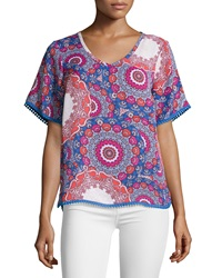 Laundry By Shelli Segal Floral Medallion Chiffon Blouse Blue Multicolor