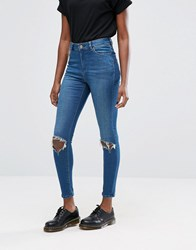 Asos Ridley High Waist Skinny Jeans In Mahogany Dark Stonewash With Busted Knee Rips Darkwash Blue