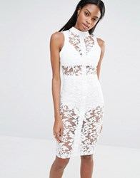 Missguided Mssguided High Neck Sleeveless Premium Lace Bodycon Dress White