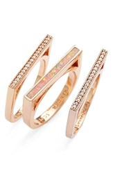 Women's Kendra Scott 'Lucia' Stackable Rings Coral Kyocera Opal Rose Gold Set Of 3