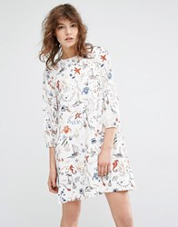 Essentiel Antwerp Miaga Longsleeve Printed Dress Off White Multi