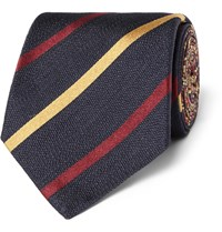 Etro Striped Silk Twill Tie Blue