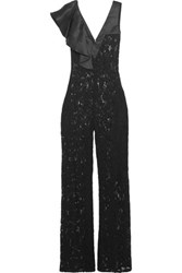 Alexis Oscar Embroidered Lace Satin Paneled Jumpsuit Black