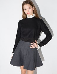 Pixie Market High Ruffled Collar Crop Sweater
