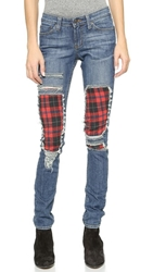 One By Jet By John Eshaya Plaid Skinny Jeans Red Plaid