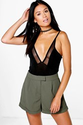 Boohoo Tailored Turn Up Woven Shorts Olive