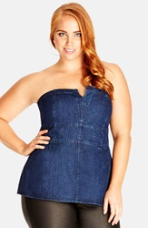 City Chic Strapless Denim Corset Top Plus Size