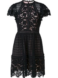 Rebecca Taylor Floral Lace Pleated Skirt Dress Black