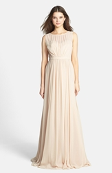 Jenny Yoo 'Vivienne' Pleated Chiffon Gown Champagne