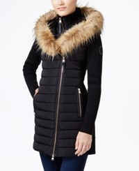 Calvin Klein Performance Faux Fur Trim Mixed Media Jacket Black