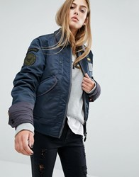 Schott Coach Oversized Flight Jacket With Double Layer Collar And Woven Badges Navy