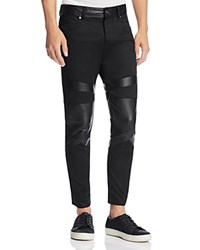 Diesel Sleenker Leather Trim Moto Super Slim Fit Jeans In Black