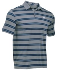 Under Armour Men's Groove Striped Golf Polo Stl Stl Wh