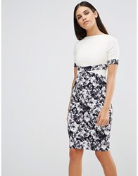 Vesper Pencil Dress With Monochrome Floral Print Skirt Ivory Print Cream